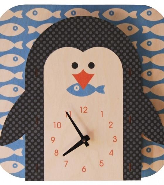 Настенные детские 3D-часы Пингвин