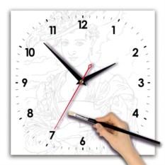 Квадратные часы-раскраска Барышня