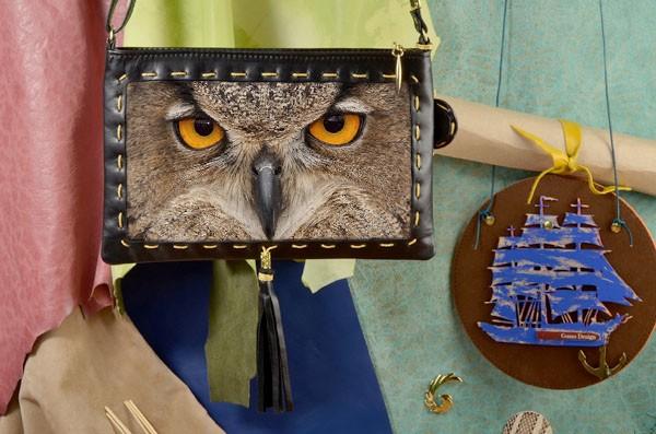 Клатч с принтом Глаза совы