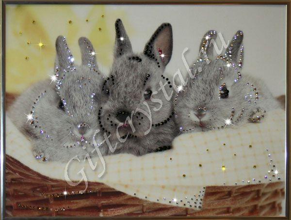 Картина с кристаллами Swarovski Братцы кролики