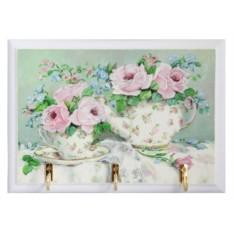 Открытая настенная ключница Розовые розы. Чаепитие