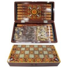 Настольная игра Шахматы, шашки, нарды, размер 40х20х5 см