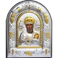 Икона в серебряном окладе с позолотой Николай Угодник