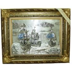 Панно Корабли в серебряном цвете