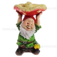Декоративная садовая фигурка Гном с грибом на голове