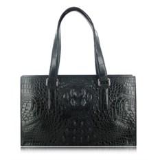 Черная низкая женская сумка из кожи крокодила