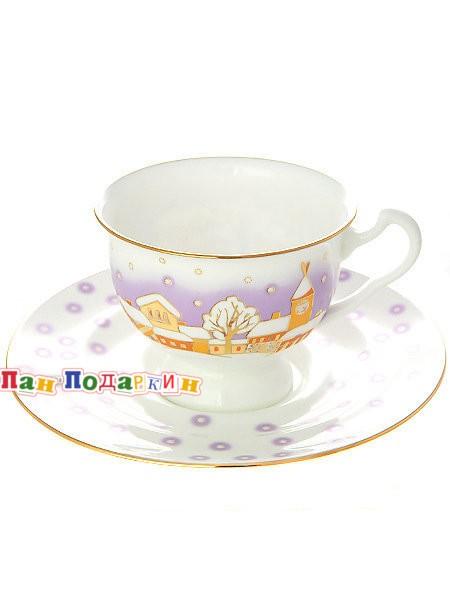 Чайная чашка с блюдцем Снегопад