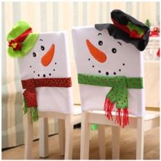 Новогодний чехол на стул «Снеговик в шляпе»