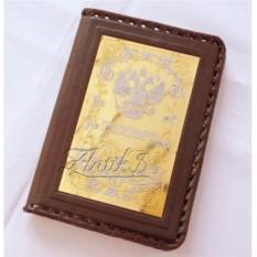 Кожаная обложка для паспорта Орнамент №2