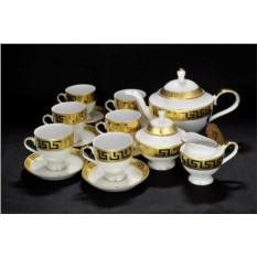 Фарфоровый чайный сервиз на 6 персон Greca Oro