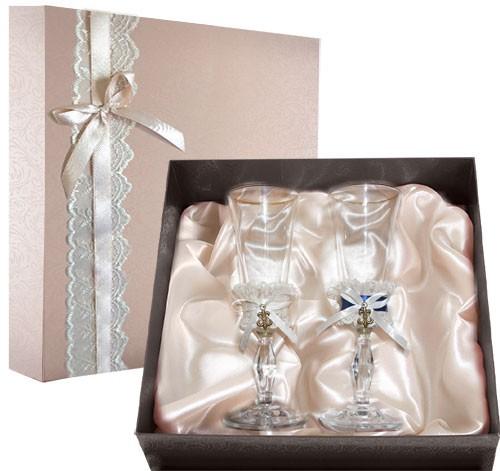 Набор свадебных бокалов в подарочной коробке Ретро №8