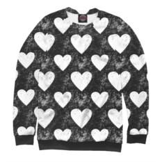 Женский свитшот Черно-белые сердца