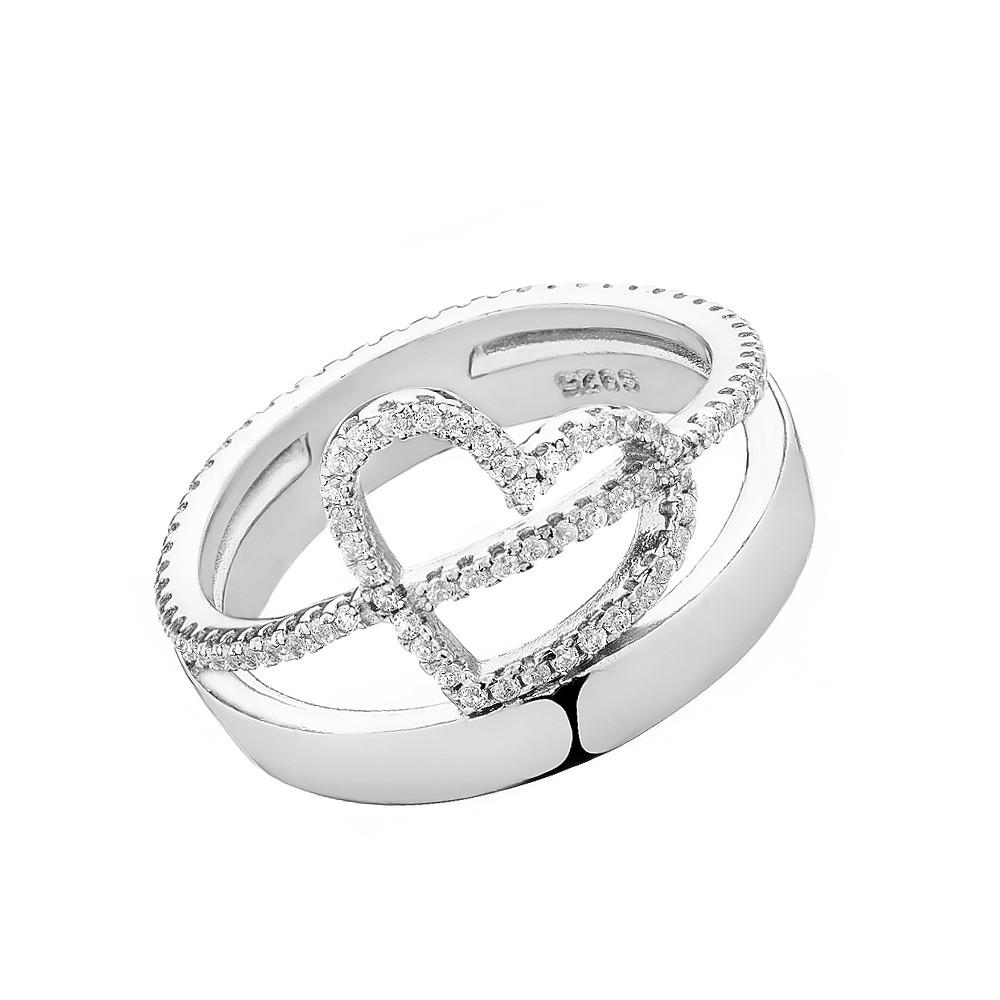 Кольцо серебряное с сердцами, украшенное фианитами
