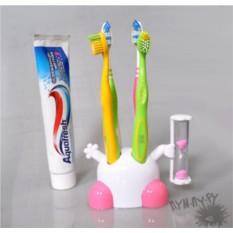Подставка для зубных щеток Человечек, розовые ножки