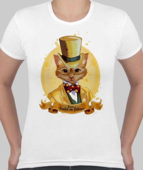 Женская футболка Кот в шляпе