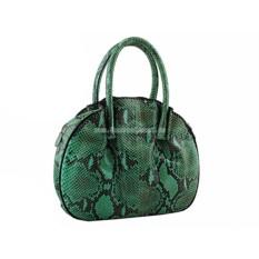 Женская сумочка из кожи питона (зеленая)