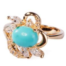 Позолоченное кольцо с бирюзой Анемон