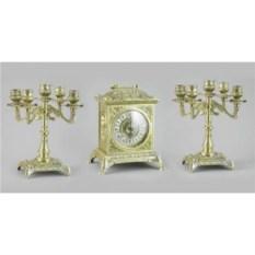 Золотистые каминные часы и 2 канделябра