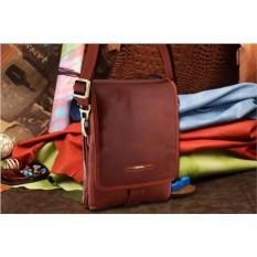 Коричневая кожаная сумка-планшет коллекции Dor.Flinger