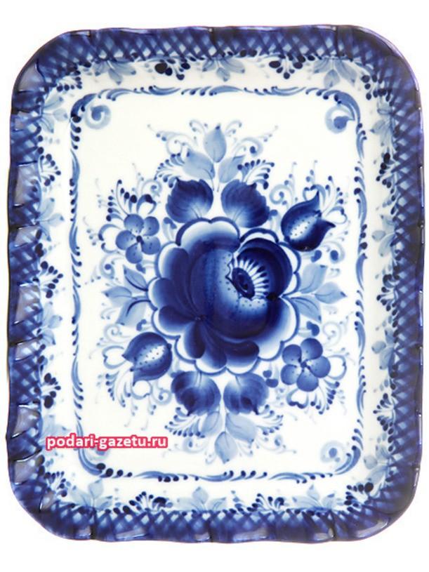 Прямоугольный поднос с художественной росписью Гжель