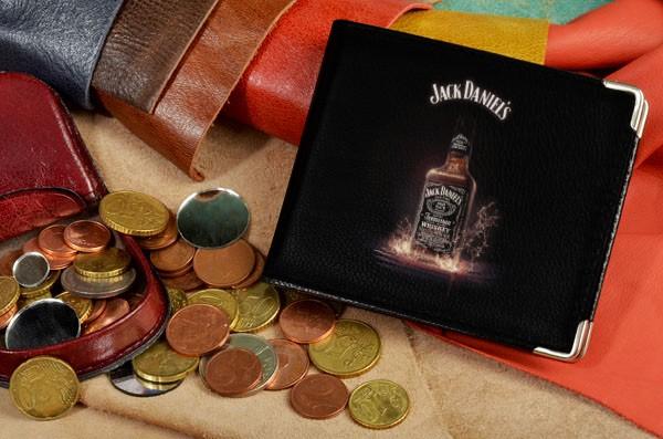 Черное кожаное портмоне Jack Daniels