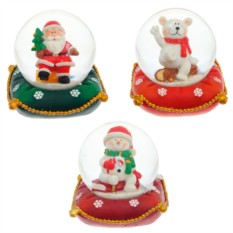 Фигурка в стеклянном шаре Санта, Снеговик, Медведь