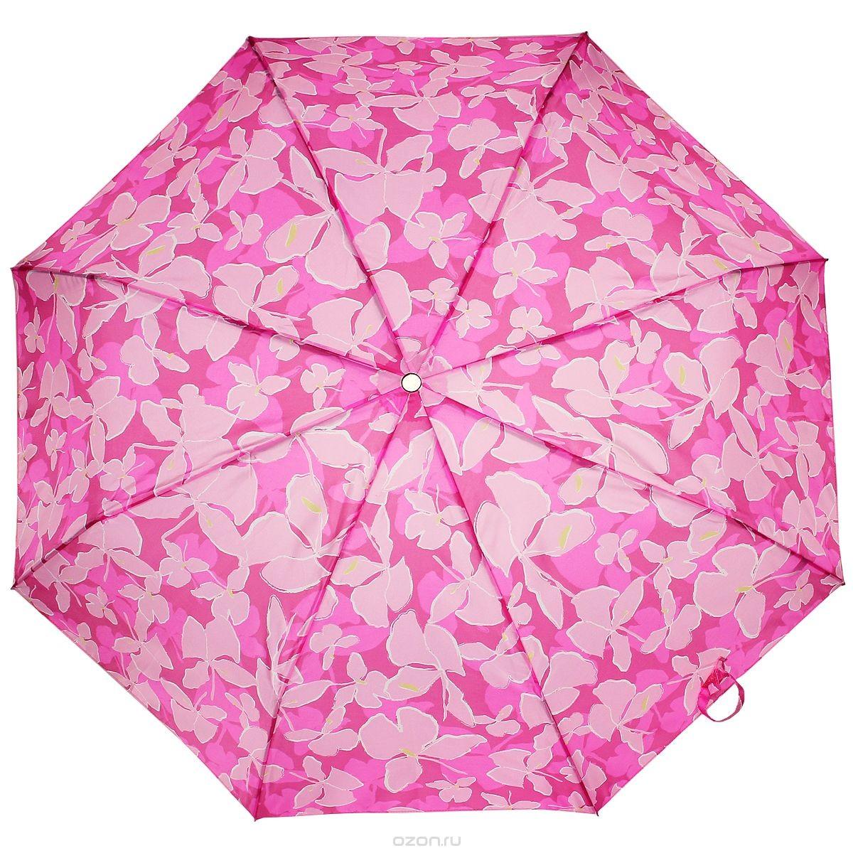 Женский розовый зонт-автомат 3 сложения Edmin