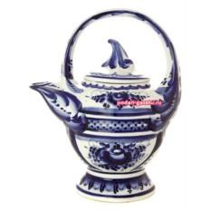 Чайник Гжель заварочный керамическийсЛисток
