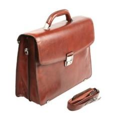 Мужской коричневый кожаный портфель Sergio Belotti