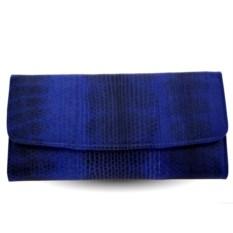Черно-синий женский кошелек из кожи морской змеи