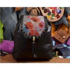 Женский кожаный рюкзак ручной работы Красные маки