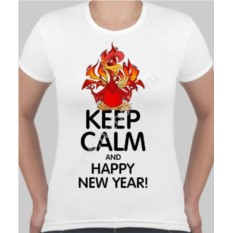 Женская футболка с петухом Keep calm and happy new year!