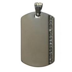 Серебристый жетон с вертикальной полосой страз