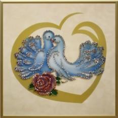 Картина Swarovski Влюбленные голуби, 656 кристаллов, 25х25