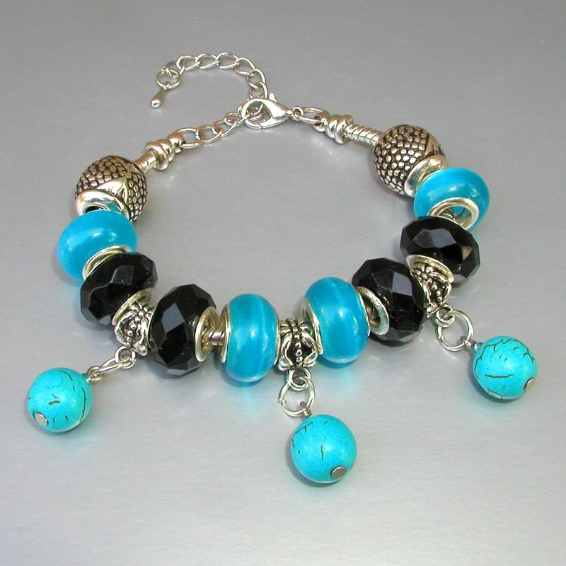 Голубой браслет из бирюзы в стиле Пандора