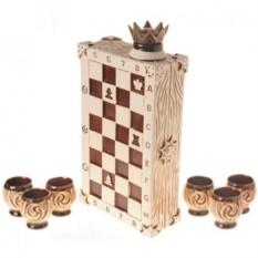 Штоф и 6 рюмок Шахматы
