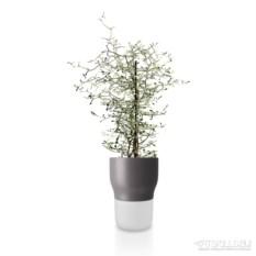 Серый горшок для растений с функцией самополива d13 см