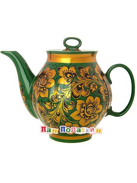 Заварочный чайник хохлома Кудрина царская на зеленом фоне