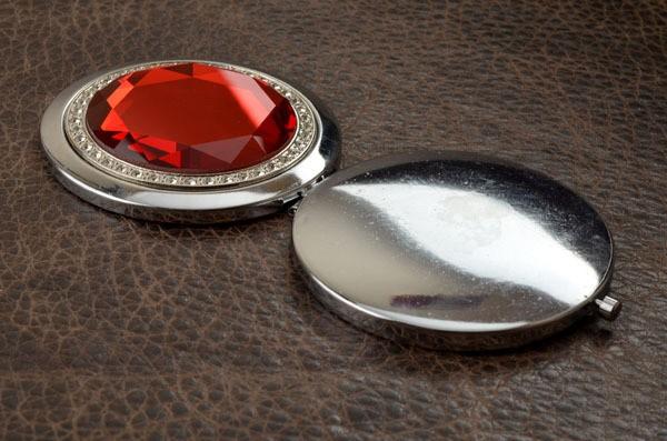 Карманное зеркальце, коллекция Crystal (красное; тип 1)