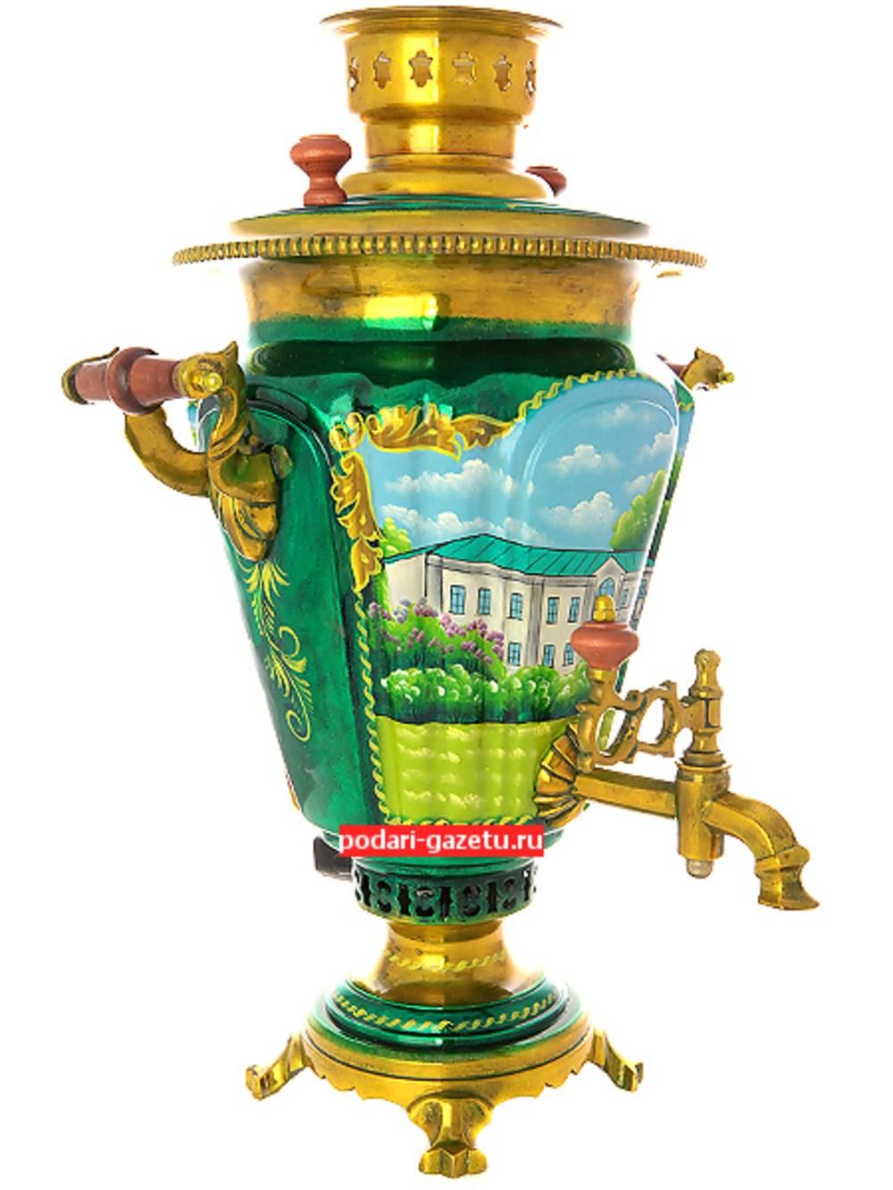 Электрический самовар на 7 литров с художественной росписью Ясная поляна, форма конус