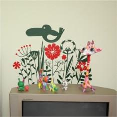 Интерьерные наклейка Экзотические цветы и птицы
