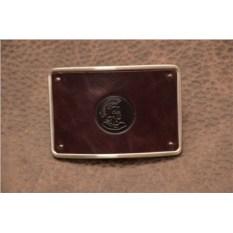 Пряжка для ремня с кожаной вставкой. Коллекция G.Design (темно-коричневый, римский воин; нат. кожа)