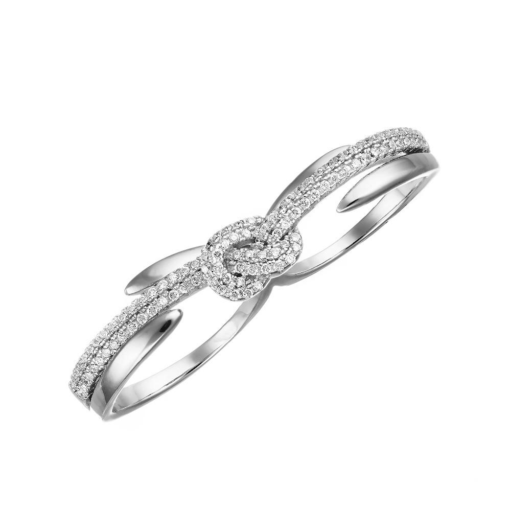 Серебряное кольцо с фианитами, одевающееся на два пальца