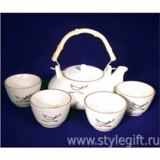 Чайный набор из 4 пиал и чайника