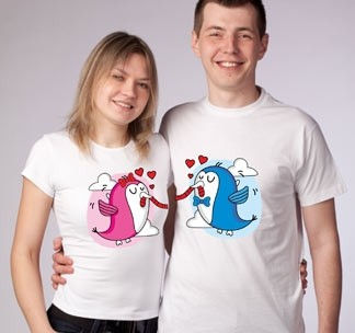 Парные футболки Птички и червячок