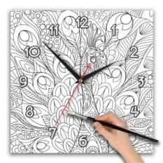 Квадратные часы-раскраска Павлин