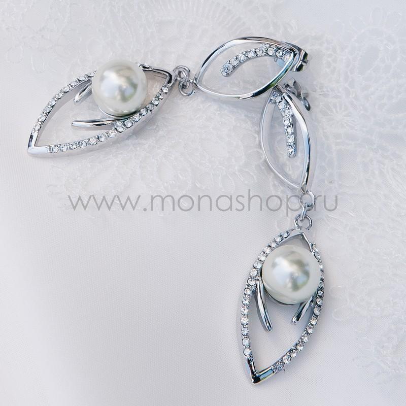 Серьги с жемчугом и кристаллами Сваровски Ландыши