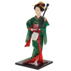 Декоративная кукла Гейша в зеленом кимоно