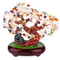 Бонсай (27 см) Микс камней (дерево счастья из натуральных камней)