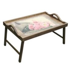 Столик для завтрака в постель с ручками Нежные цветы